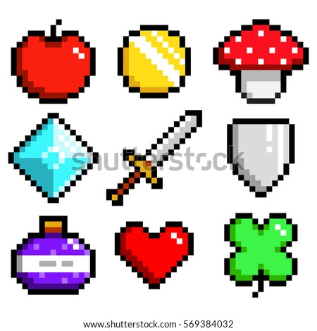 set of minimalistic pixel art