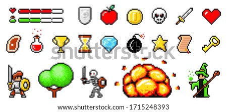 Set of minimalistic pixel art vector objects isolated. Pixel game buttons. 8 bit UI gaming bar notation. Video-game pixel magic items, digital pixelated lives bar. Heroes and retro icons used in games