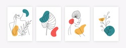 Set of minimalistic posters with womens silhouette and leaves. Trendy cards with abstract shapes hand drawn girl portraits and leaves. Vector illustration