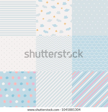 Set of minimalistic seamless patterns.