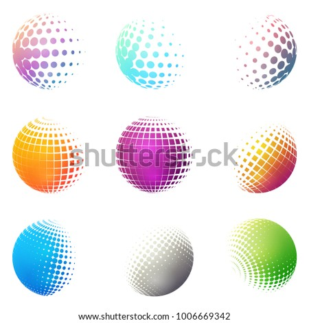 Set of minimalistic shapes. Halftone bright color spheres isolated on white background. Stylish emblems. Vector spheres with dots, squares, rectangles for web designs. Simple signs collection