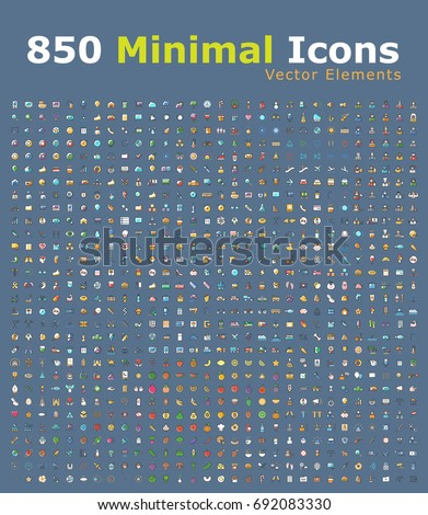 Set of 850 Minimalistic Solid Colored Icons on Blue Background . Isolated Vector Elements