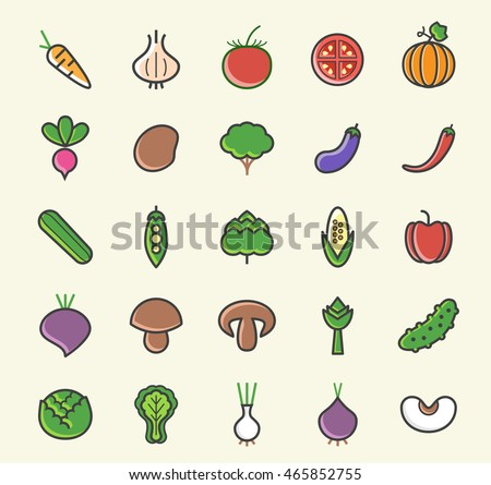 Set of 25 Minimalistic Solid Coloured Vegetable Icons. Isolated Vector Elements.