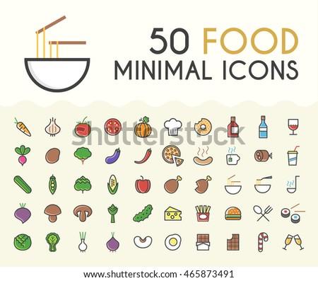 set of 50 minimalistic solid