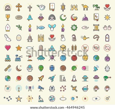 set of 100 minimalistic solid