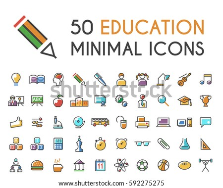 Set of 50 Minimalistic Solid Line Coloured Education Icons . Isolated Vector Elements