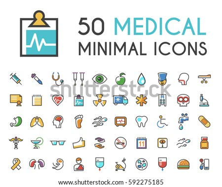 Set of 50 Minimalistic Solid Line Coloured Medical Icons . Isolated Vector Elements