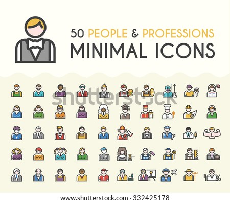 set of 50 minimalistic solid