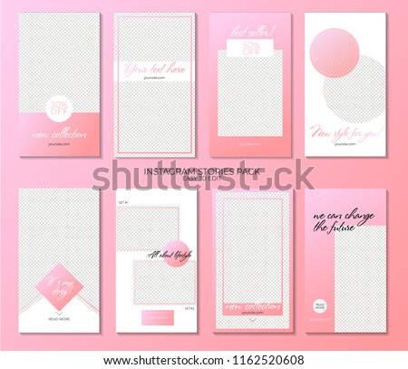 Set of minimalistic stories for Instagram. Pack for creature your unique content. Modern pink gradient #1162520608