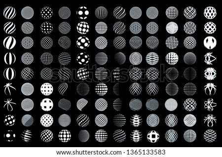 Set of minimalistic wireframe shapes of globe spheres isolated on white background Simple signs collection for web designs. Vector