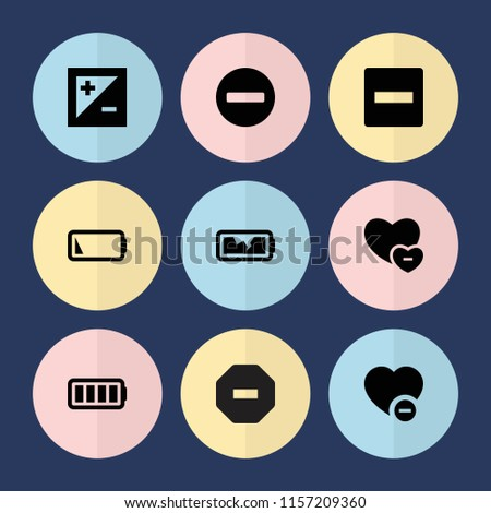 Set of 9 minus filled icons such as minus, minus favorite, ful battery, low battery, broken battery