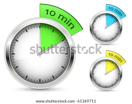 Set of 10 minutes timer. Vector illustration. - stock vector