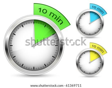 Set of 10 minutes timer. Vector illustration.