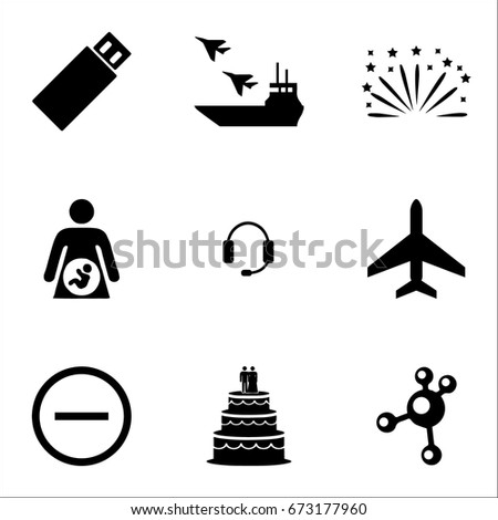 set of 9 miscellaneous icons