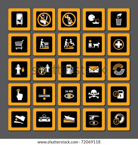 Set of miscellaneous pictograms in orange and white on black