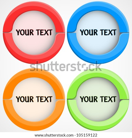Set of miscellaneous red pointers with place for customer text. Background in separate layer. Vector illustration.