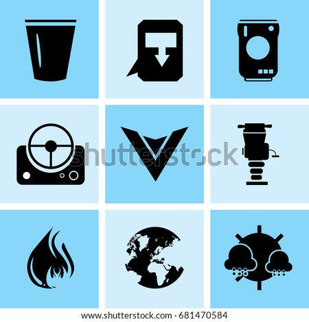 set of 9 mixed icons such as