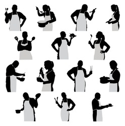 set of mixed silhouettes chef man and woman vector illustration