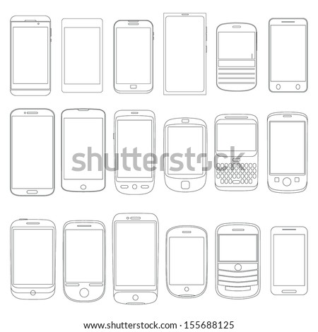 set of mobile phone outlines as