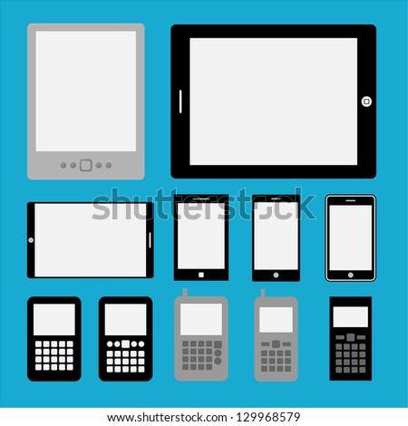 Set of mobile phones and tablets ,Illustration eps 10