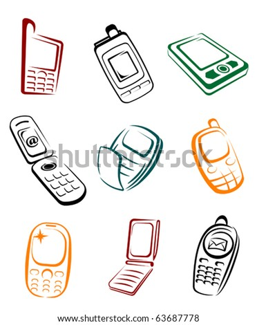 Set of mobile phones for communication design or global concepts - also as emblem or logo template. Jpeg version also available in gallery - stock vector
