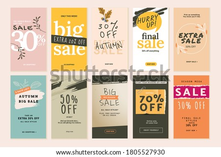 Set of mobile sale banners. Autumn sale. Vector illustrations for website and mobile banners, print material, newsletter designs, coupons, marketing.