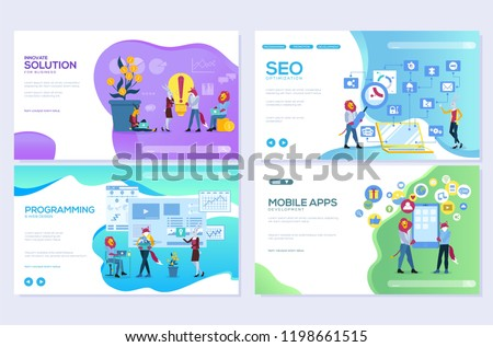 Set of mobile website development, SEO, apps, business solutions. Web page vector illustration design templates. Edit and customize modern
