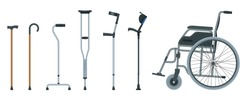 Set of mobility aids including a wheelchair, walker, crutches, quad cane, and forearm crutches. Flat illustration. Health care concept.