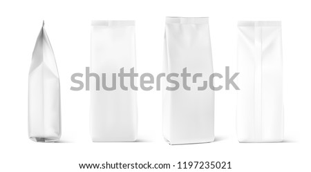 Set of mock up bags isolated on white background. Vector illustration. Can be use for your design, presentation, promo, ad. EPS10.