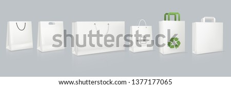 Set of mockup of realistic white paper bag with logotype. Corporate identity blank packaging, shopping bag paper mockup. Branding packaging template with handles. Gift boxing. Vector illustration.