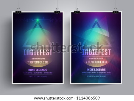 Set of mockup poster templates or flyers for an indie rock concert.Invitation to the music festival,night party  in a minimalism style,lectures and seminars on the mystical theme.Vector illustration.