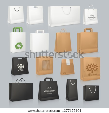 Set of mockup realistic square paper package bag, festive boxing. Corporate identity blank packaging, shopping bag. Shopping bag paper mockup branding packaging template: white, black vector
