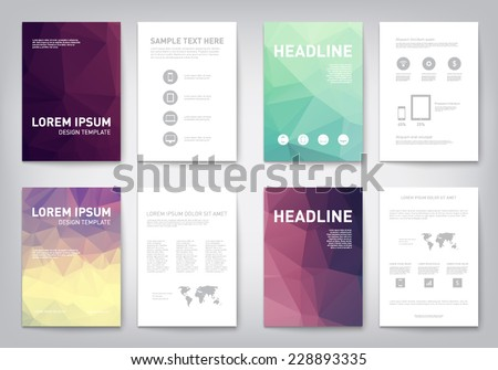 Set of modern abstract brochure, flyer, report design, layout template. Clean style cover, cummunication, business. corporate