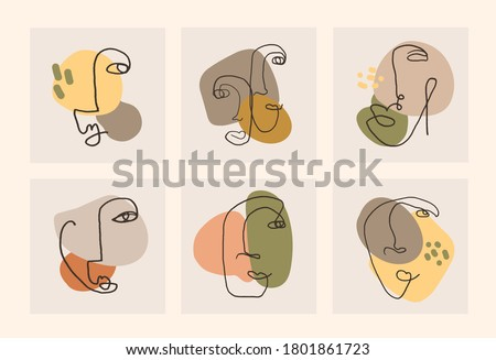 Set of modern abstract faces continuous line. Trendy contemporary faces with various face expressions. Vector illustration in hand drawn outline style