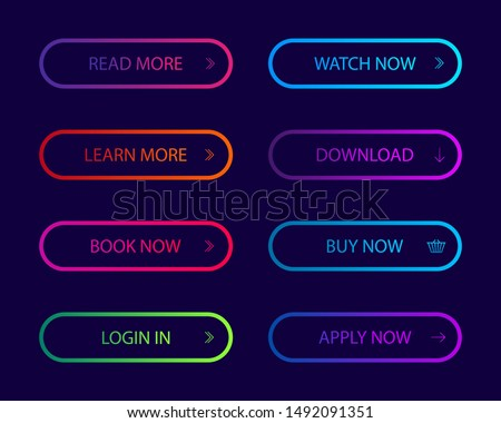 Set of modern action button for website, infographic, mobile app.Navigation buttons with gradient color. Button icon for shop, game, banner. vector illustration