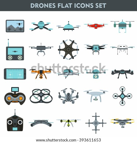 Shutterstock Set of modern air drones, quadrocopters and remote control drones isolated on white background. Flat cartoon vector illustration.