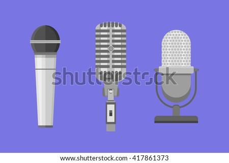 Set of modern and retro microphones. Flat style vector illustration.