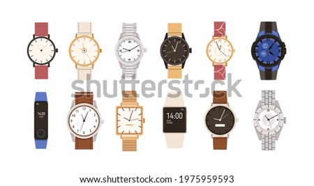 Set of modern and vintage wristwatches. Fashion design of wrist watches with silver, gold and leather straps. Men and women hand clocks. Colored flat vector illustration isolated on white background Сток-фото ©