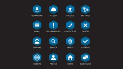 Set of modern Blue Gradient colors cube buttons for web site and ui all 16 buttons set. isolated on black background.