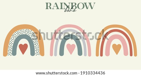set of modern boho style. Vector hand drawn boho clipart for nursery decoration with cute rainbows. Perfect for baby shower, birthday, children's party. Gender neutral Scandinavian nursery graphics.