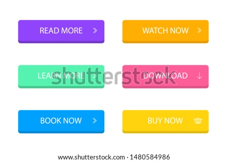 Set of modern button for infographic, web, banner. Colorful call action icon in flat style. Infographic simple button on isolated background. vector eps10
