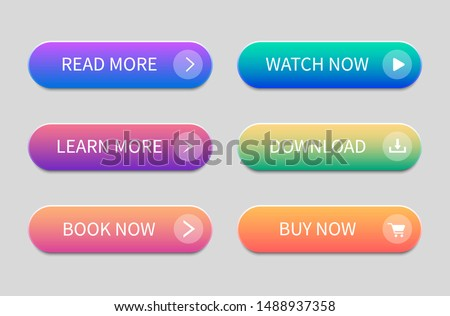 Set of modern buttons for website and user interface. Gradient Buttons.