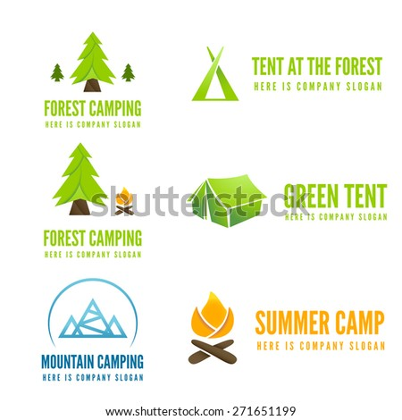 Set of modern camp badges, logo, emblem and logotype elements for camping, web, business or other projects