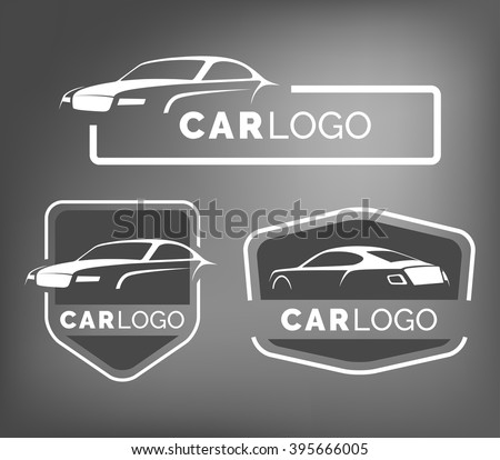 Set of modern car emblems, badges and icons. Sports coupe car silhouette logo design template for car service, tire service, wash and detailing. Luxury coupe  front and back view.