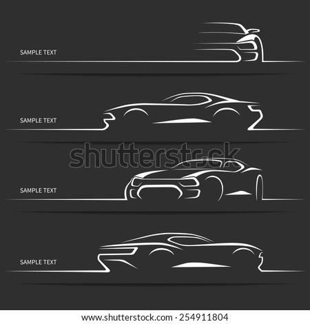 Set of modern car silhouettes. Sports car in three angles. Vector illustration #254911804