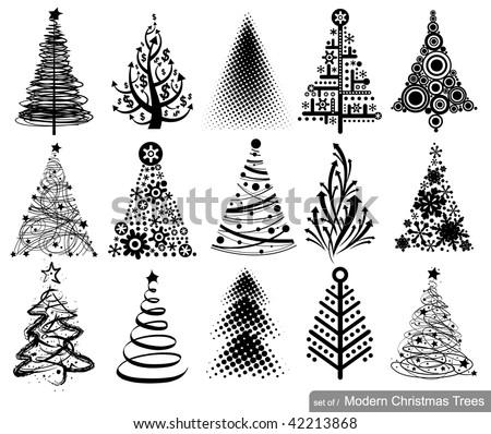 set of modern christmas trees
