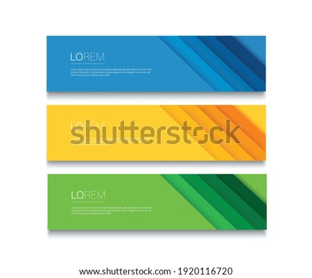 Set of modern colorful banner template. Blue, Orange and Green Banner design ストックフォト ©