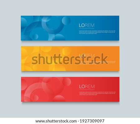 Set of modern colorful banner template. Blue, Red and Orange Banner design