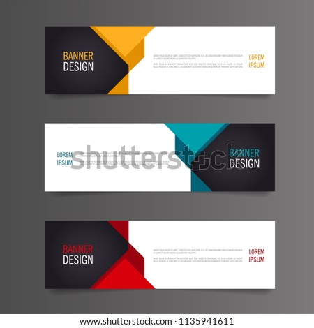 Set of Modern Colorful banner template. Yellow, Red and Blue Banner design. Horizontal advertising banner. #1135941611