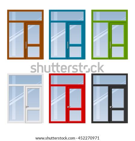 set of modern colorful windows